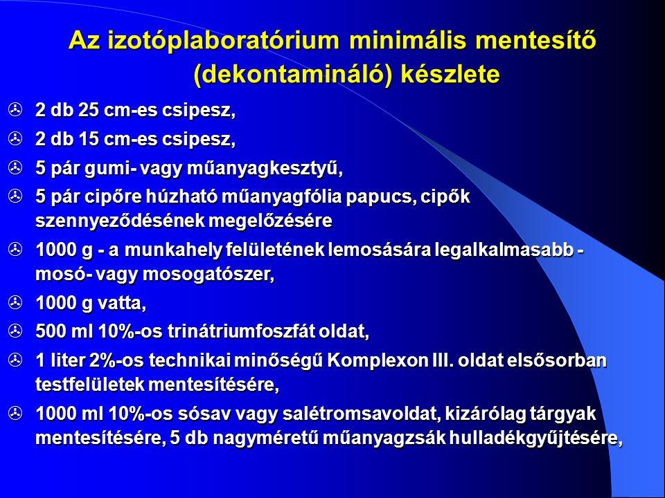 Az izotóplaboratórium minimális mentesítő (dekontamináló) készlete