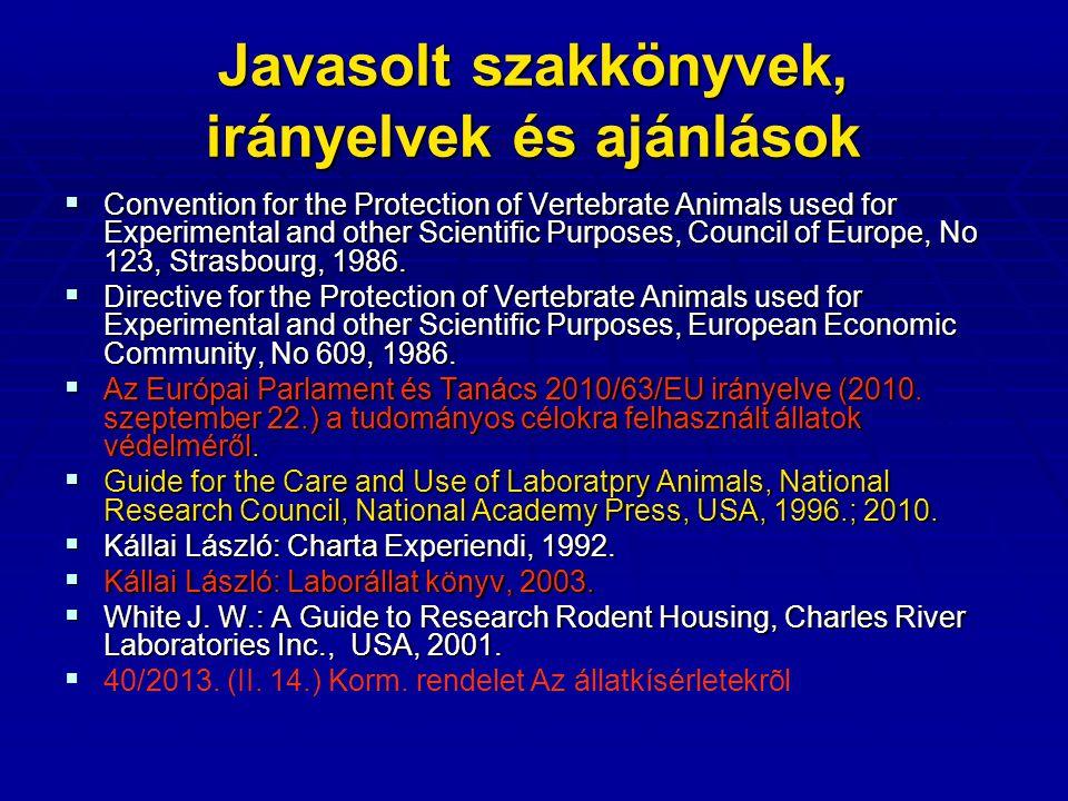 Javasolt szakkönyvek, irányelvek és ajánlások
