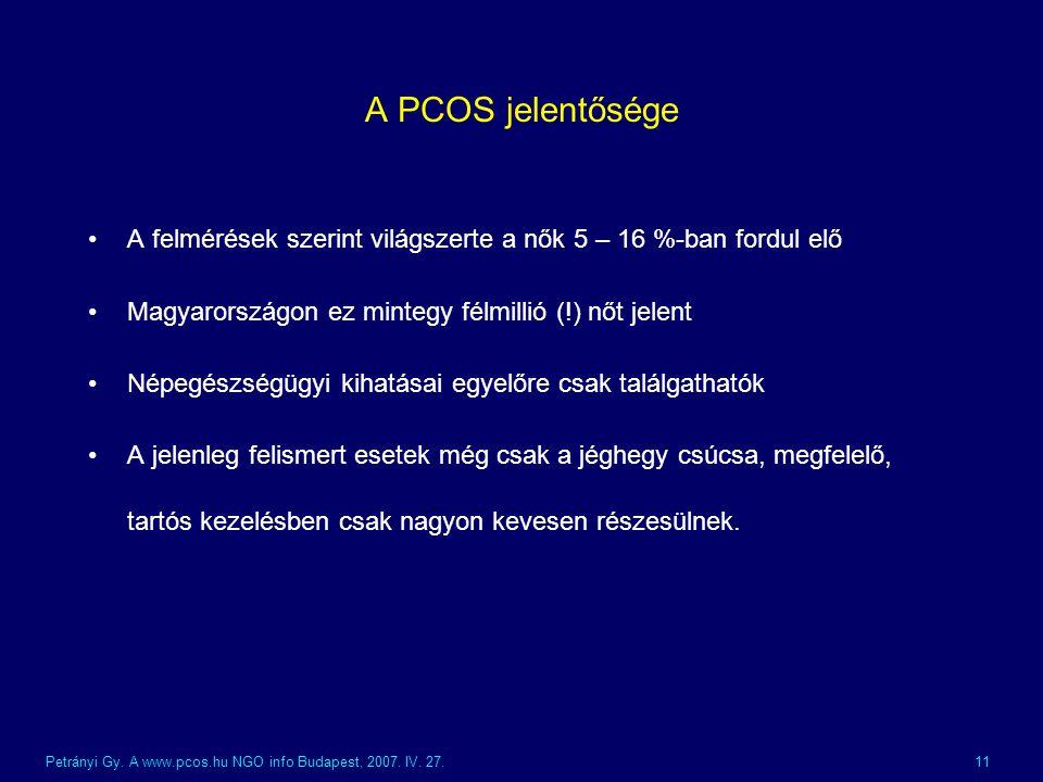 A PCOS jelentősége A felmérések szerint világszerte a nők 5 – 16 %-ban fordul elő. Magyarországon ez mintegy félmillió (!) nőt jelent.
