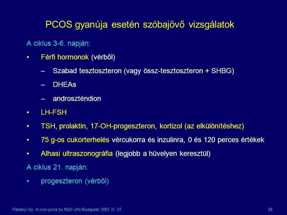 PCOS gyanúja esetén szóbajövő vizsgálatok