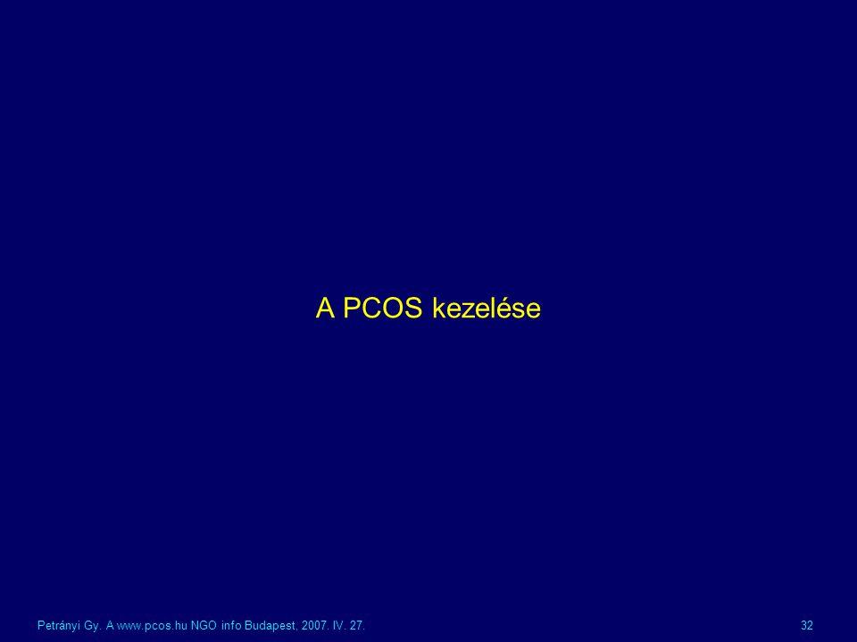A PCOS kezelése Petrányi Gy. A www.pcos.hu NGO info Budapest, 2007. IV. 27.
