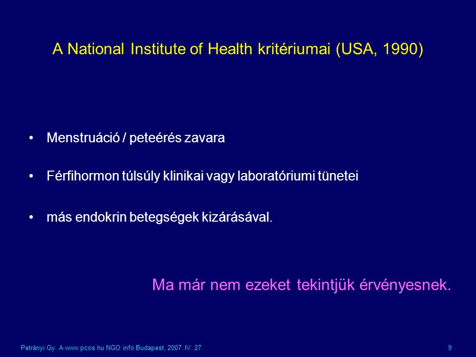 A National Institute of Health kritériumai (USA, 1990)