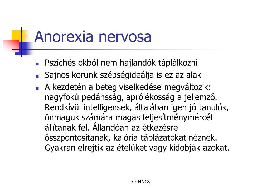 Anorexia nervosa Pszichés okból nem hajlandók táplálkozni