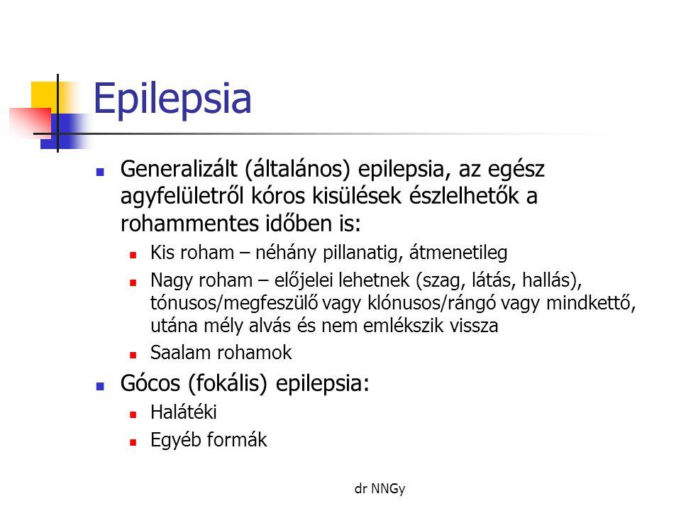 Epilepsia Generalizált (általános) epilepsia, az egész agyfelületről kóros kisülések észlelhetők a rohammentes időben is: