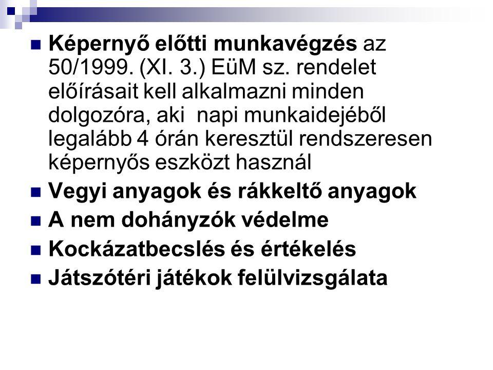 Képernyő előtti munkavégzés az 50/1999. (XI. 3. ) EüM sz
