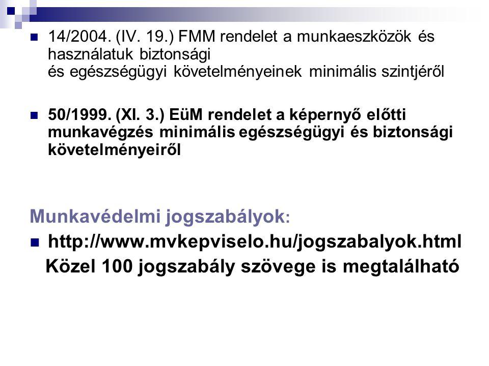 Munkavédelmi jogszabályok: http://www.mvkepviselo.hu/jogszabalyok.html