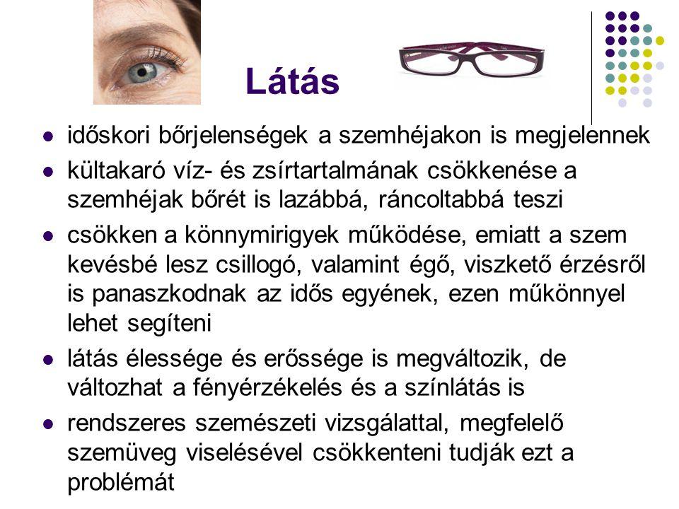 Látás időskori bőrjelenségek a szemhéjakon is megjelennek