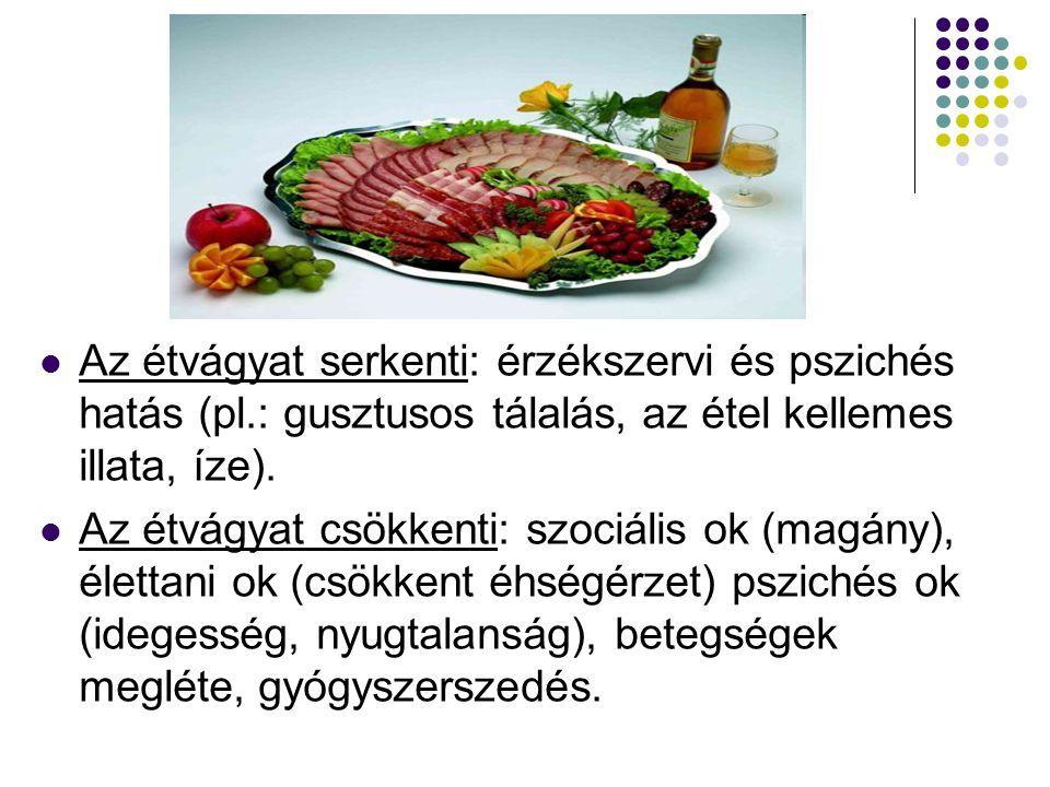 Az étvágyat serkenti: érzékszervi és pszichés hatás (pl
