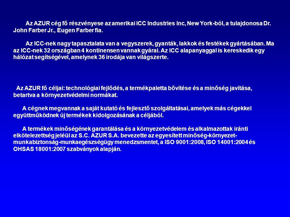 Az AZUR cég fő részvényese az amerikai ICC Industries Inc, New York-ból, a tulajdonosa Dr. John Farber Jr., Eugen Farber fia.