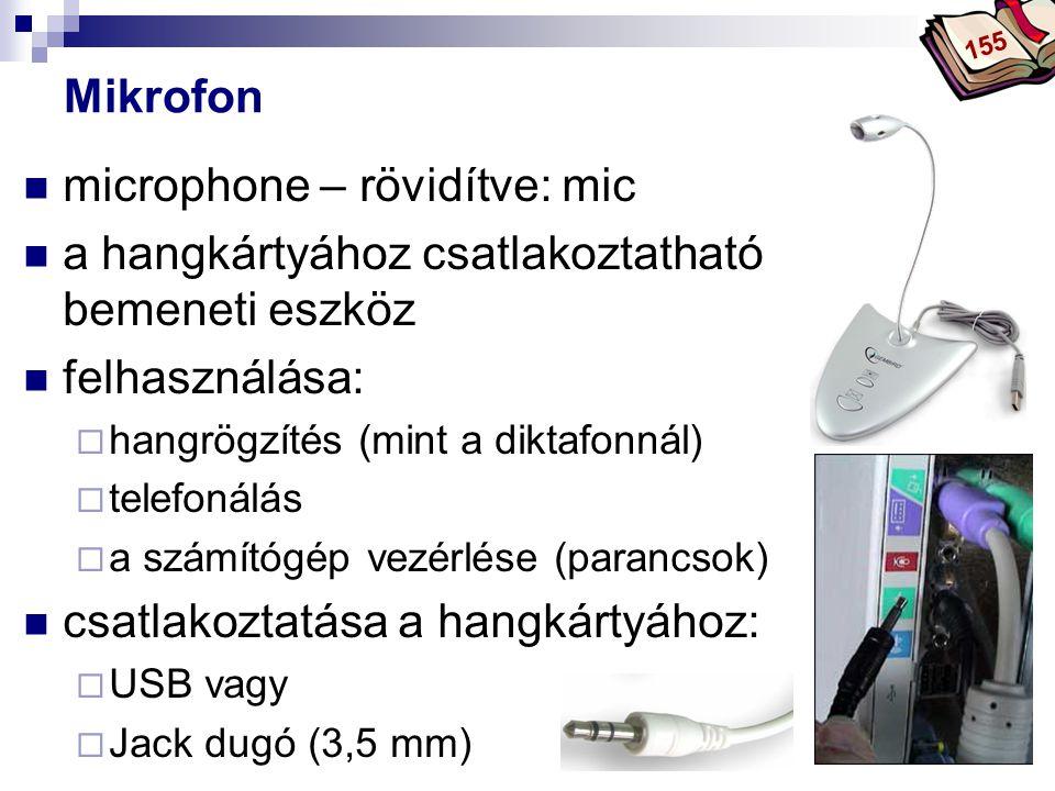 microphone – rövidítve: mic