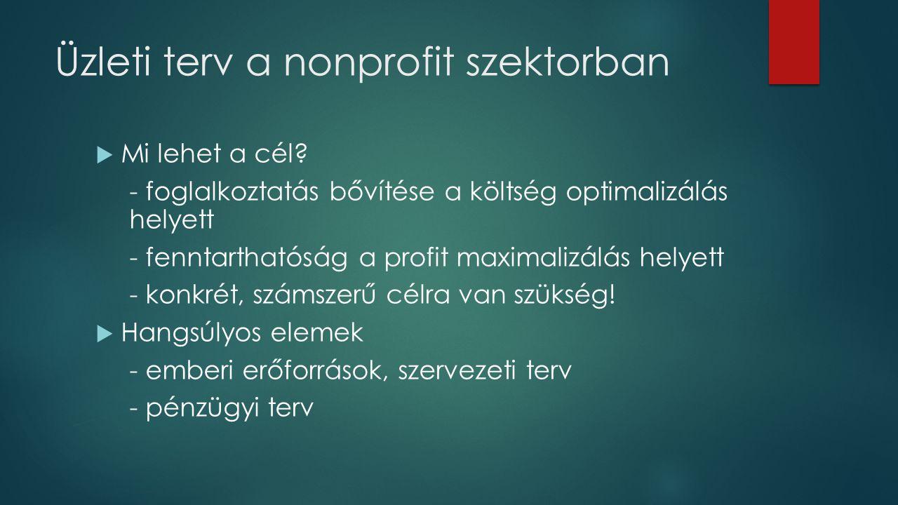 Üzleti terv a nonprofit szektorban