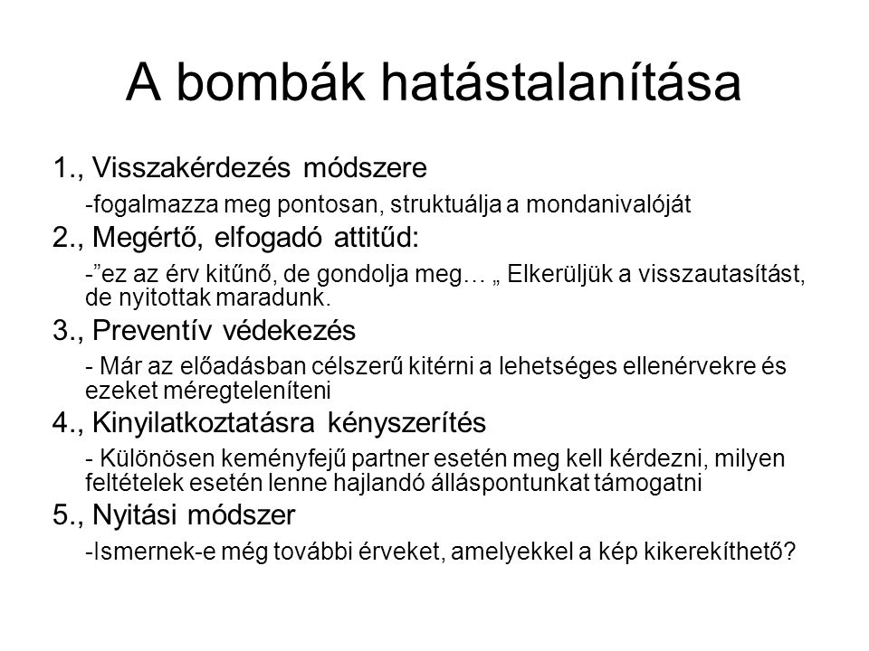 A bombák hatástalanítása