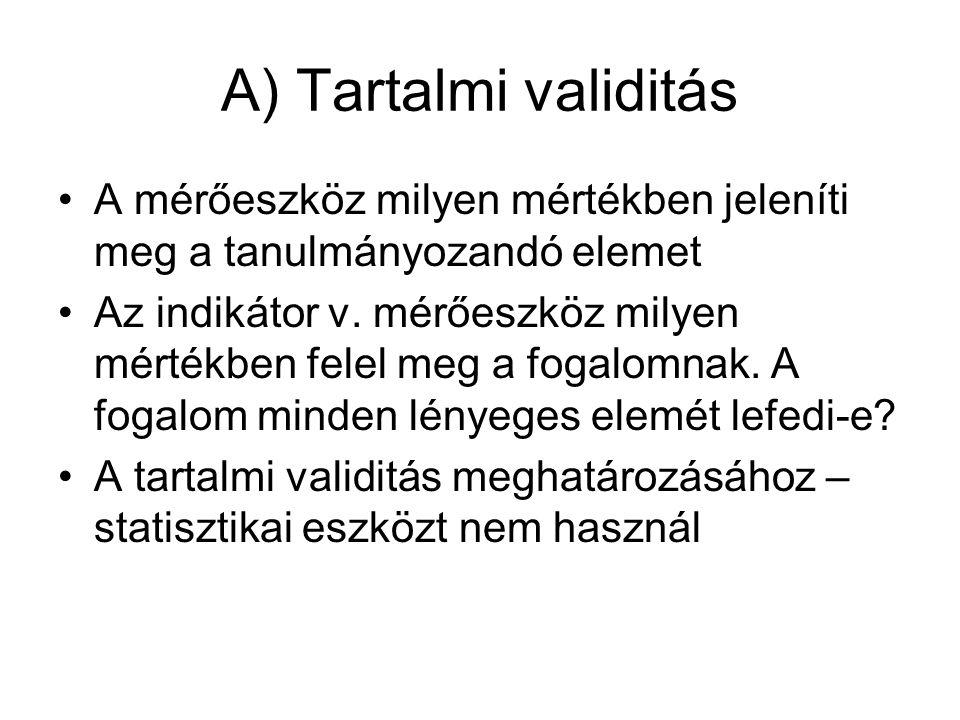 A) Tartalmi validitás A mérőeszköz milyen mértékben jeleníti meg a tanulmányozandó elemet.