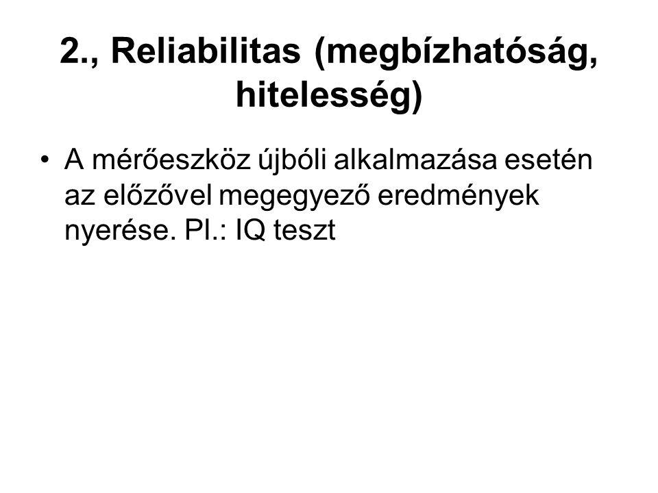 2., Reliabilitas (megbízhatóság, hitelesség)