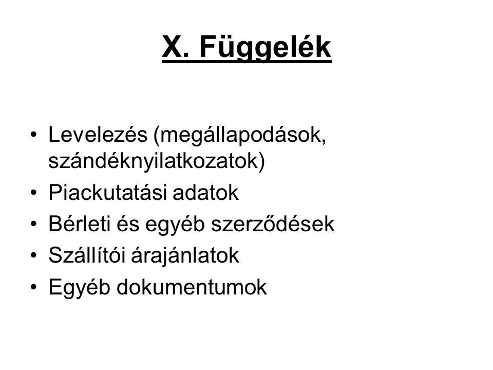 X. Függelék Levelezés (megállapodások, szándéknyilatkozatok)