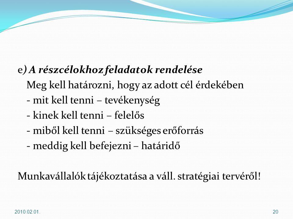 e) A részcélokhoz feladatok rendelése Meg kell határozni, hogy az adott cél érdekében - mit kell tenni – tevékenység - kinek kell tenni – felelős - miből kell tenni – szükséges erőforrás - meddig kell befejezni – határidő Munkavállalók tájékoztatása a váll. stratégiai tervéről!