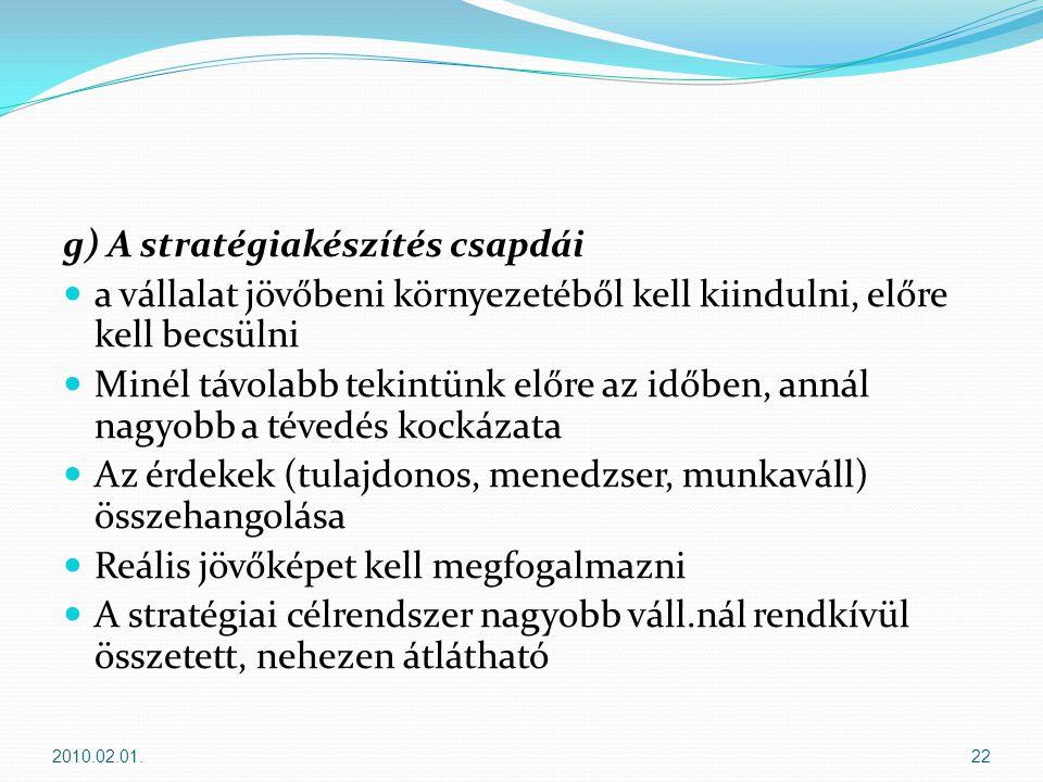 g) A stratégiakészítés csapdái