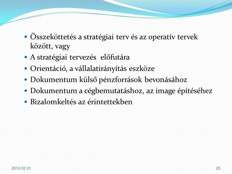 Összeköttetés a stratégiai terv és az operatív tervek között, vagy