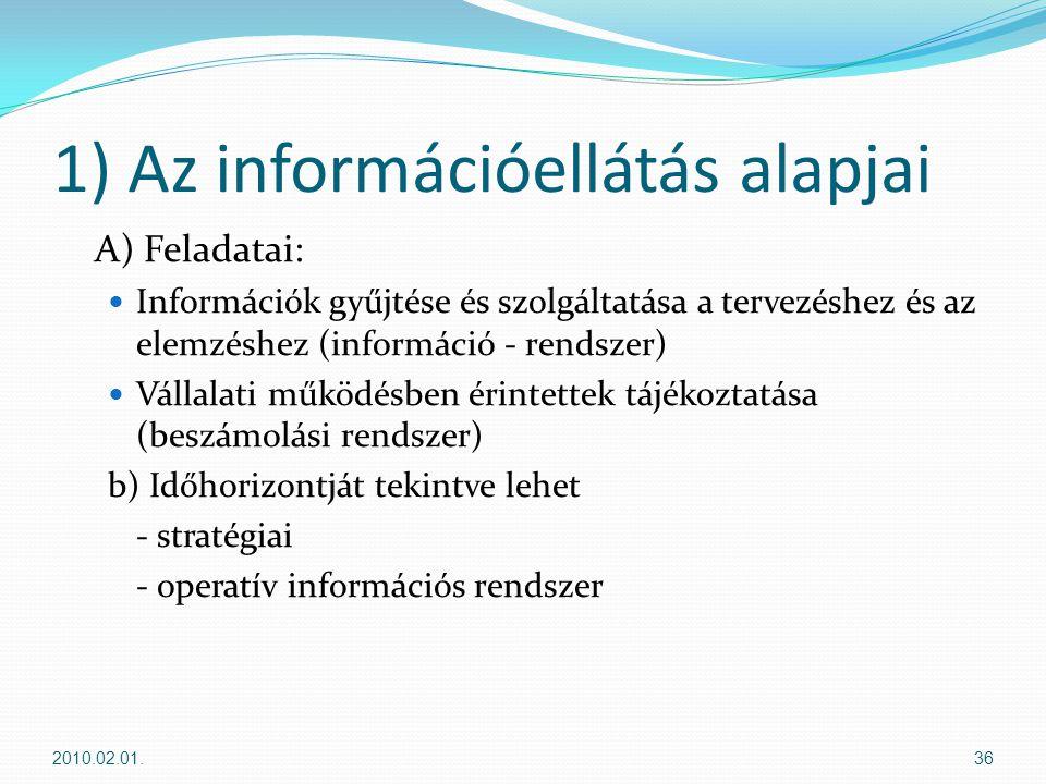 1) Az információellátás alapjai