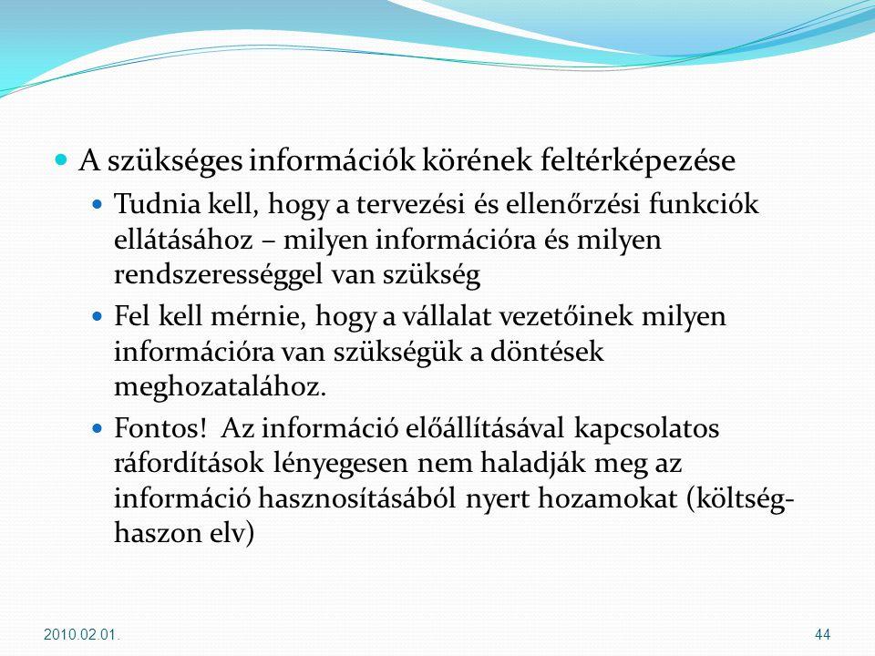 A szükséges információk körének feltérképezése