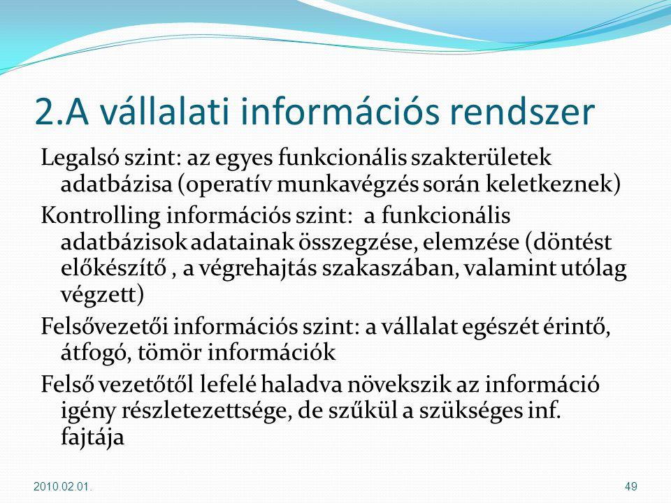 2.A vállalati információs rendszer