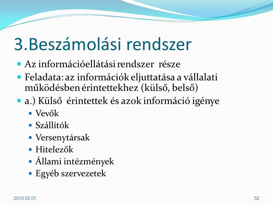 3.Beszámolási rendszer Az információellátási rendszer része