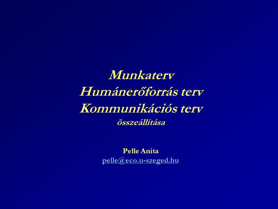Munkaterv Humánerőforrás terv Kommunikációs terv összeállítása Pelle Anita pelle@eco.u-szeged.hu