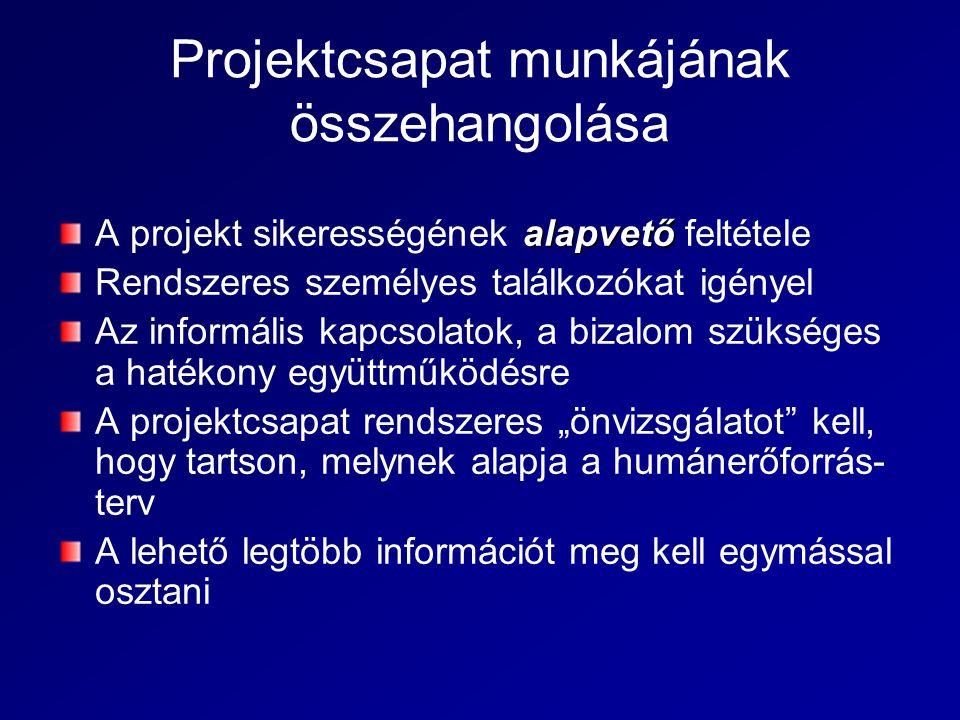 Projektcsapat munkájának összehangolása