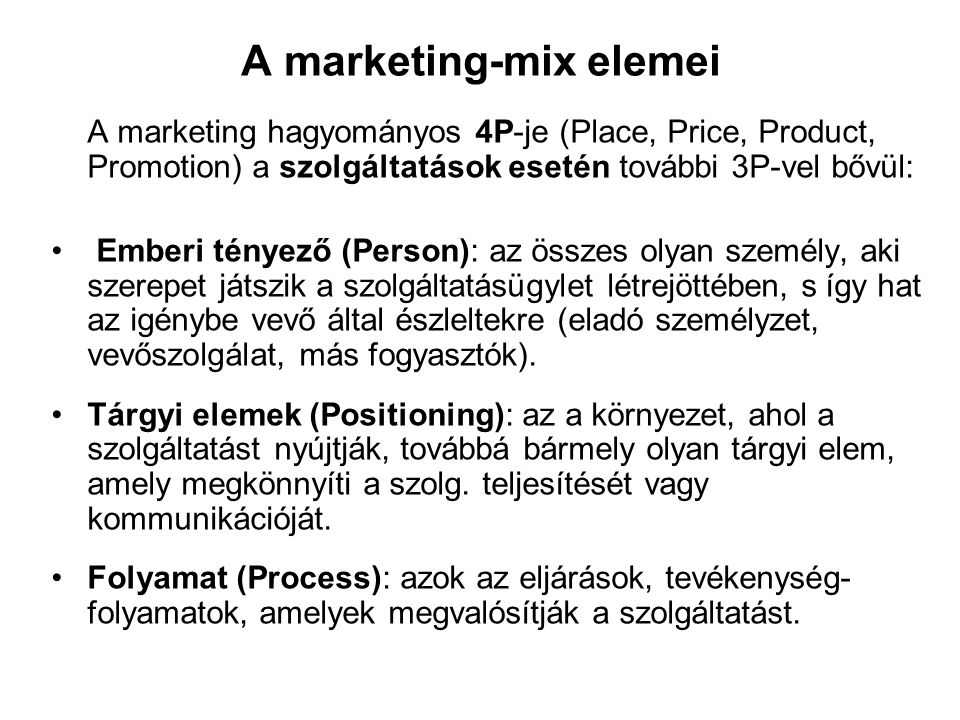 A marketing-mix elemei