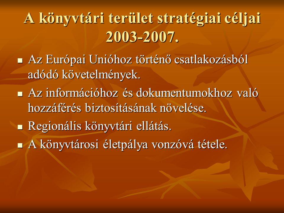 A könyvtári terület stratégiai céljai 2003-2007.