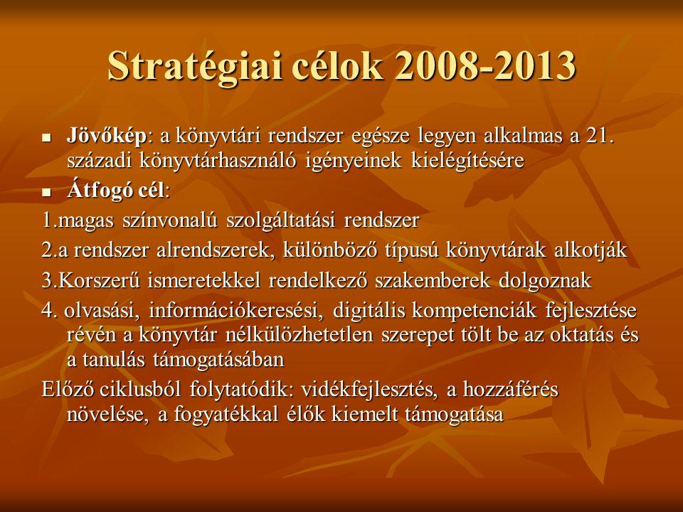 Stratégiai célok 2008-2013 Jövőkép: a könyvtári rendszer egésze legyen alkalmas a 21. századi könyvtárhasználó igényeinek kielégítésére.