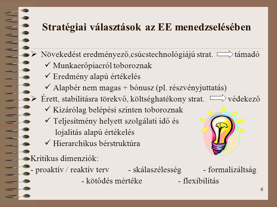 Stratégiai választások az EE menedzselésében