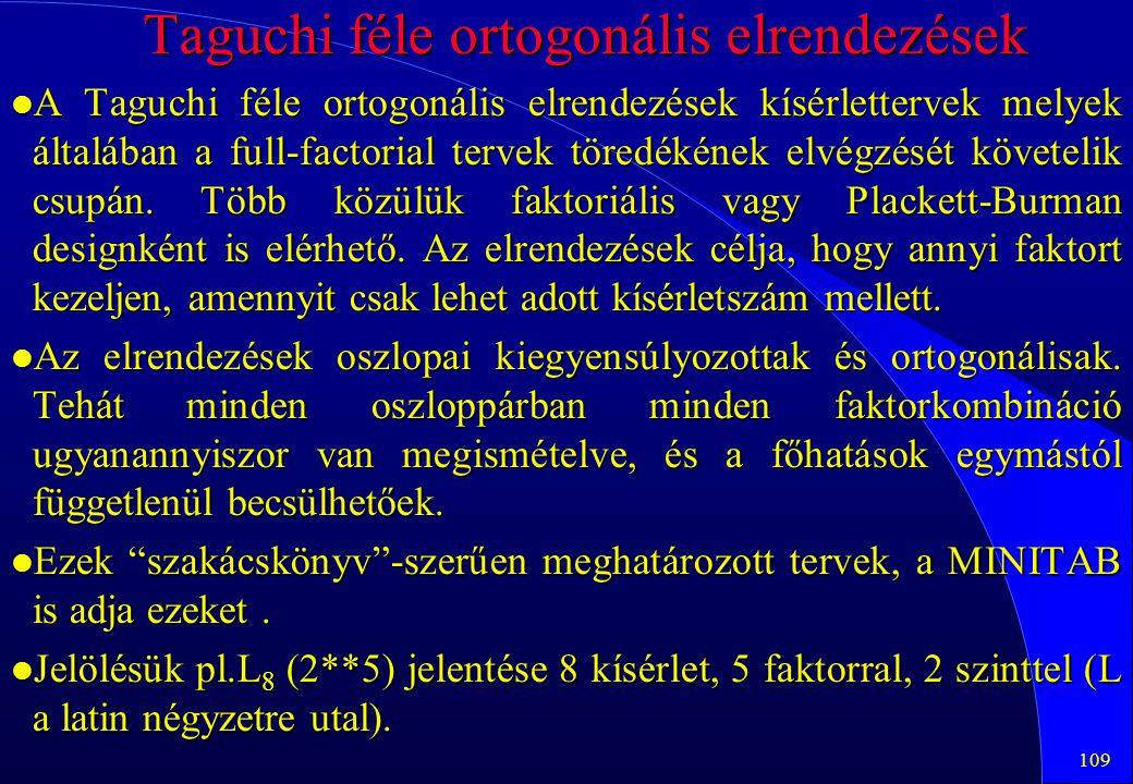 Taguchi féle ortogonális elrendezések