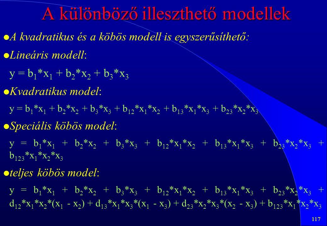 A különböző illeszthető modellek