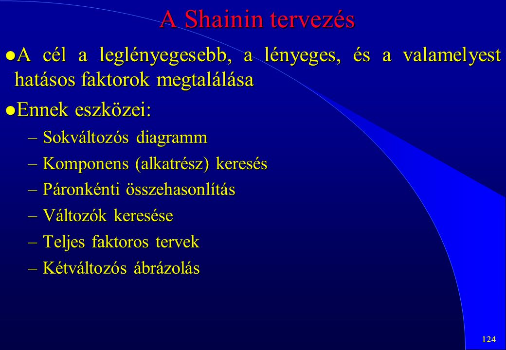 A Shainin tervezés A cél a leglényegesebb, a lényeges, és a valamelyest hatásos faktorok megtalálása.