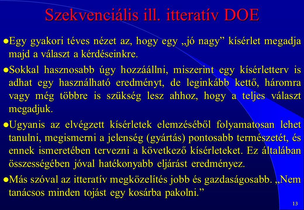 Szekvenciális ill. itteratív DOE