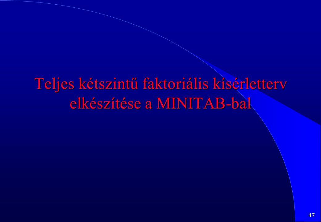 Teljes kétszintű faktoriális kísérletterv elkészítése a MINITAB-bal
