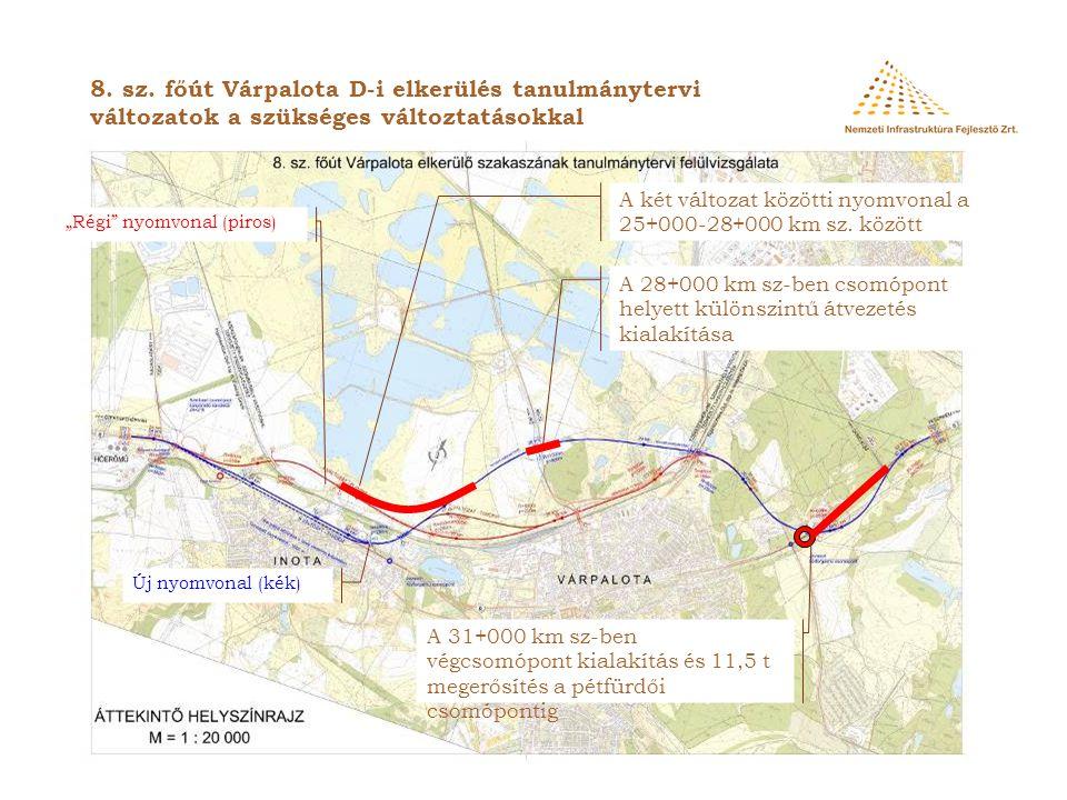 8. sz. főút Várpalota D-i elkerülés tanulmánytervi változatok a szükséges változtatásokkal