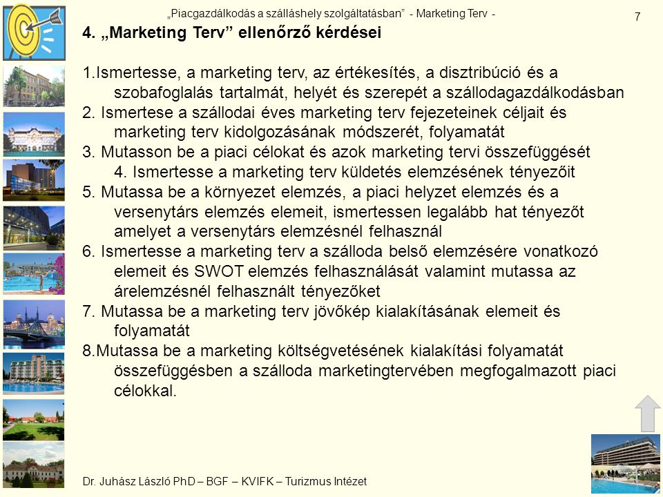 """4. """"Marketing Terv ellenőrző kérdései"""