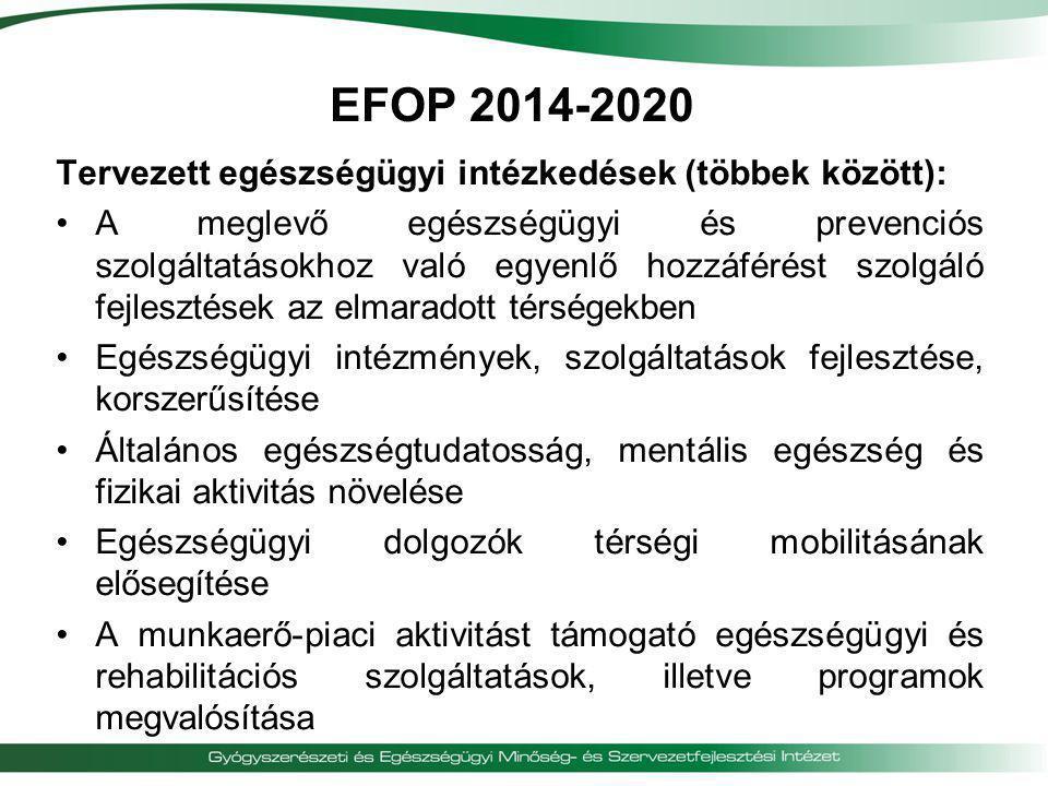 EFOP 2014-2020 Tervezett egészségügyi intézkedések (többek között):