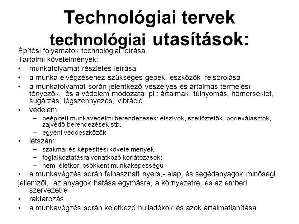 Technológiai tervek technológiai utasítások:
