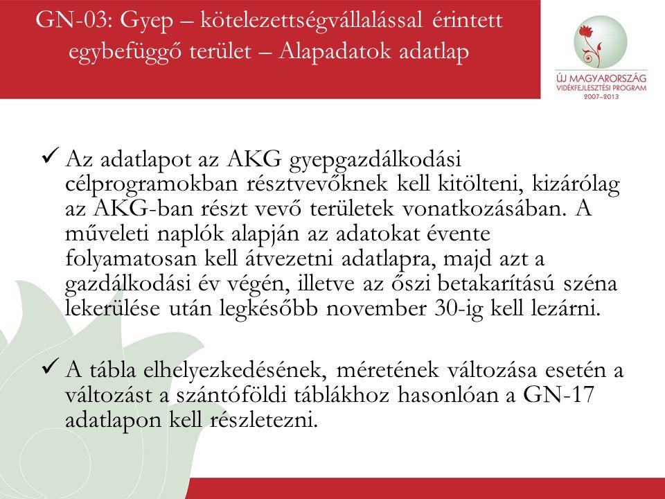 GN-03: Gyep – kötelezettségvállalással érintett egybefüggő terület – Alapadatok adatlap