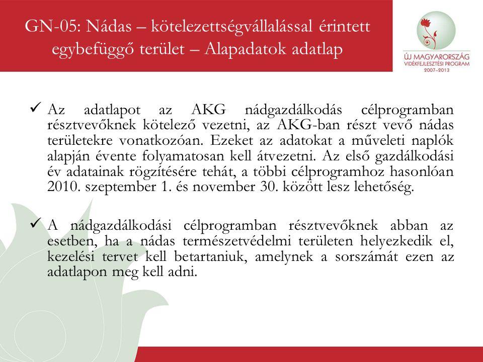 GN-05: Nádas – kötelezettségvállalással érintett egybefüggő terület – Alapadatok adatlap