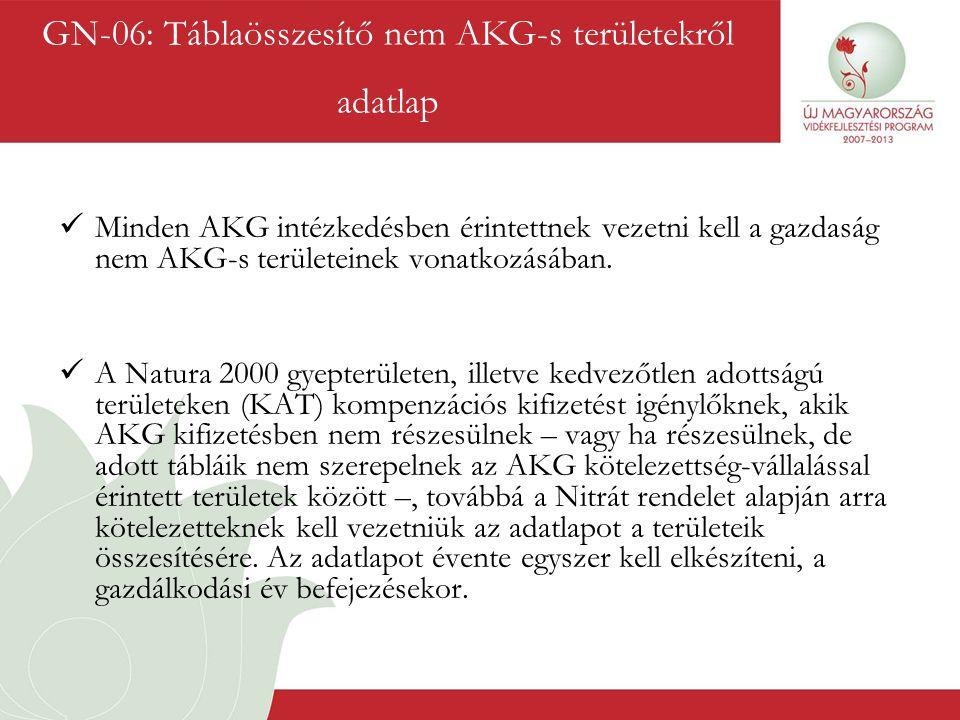 GN-06: Táblaösszesítő nem AKG-s területekről adatlap