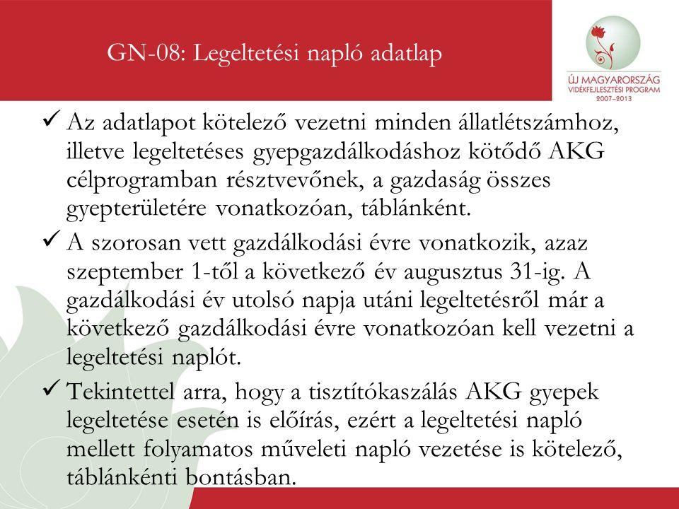 GN-08: Legeltetési napló adatlap
