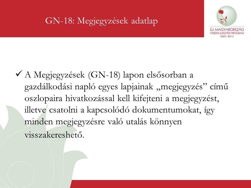 GN-18: Megjegyzések adatlap