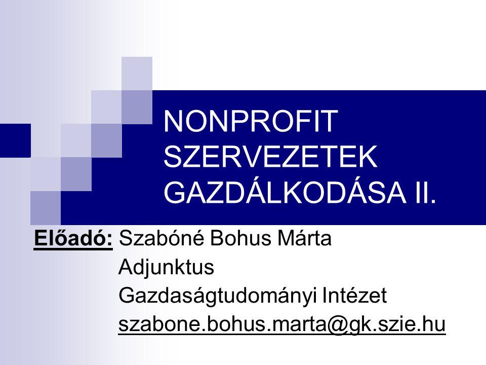 NONPROFIT SZERVEZETEK GAZDÁLKODÁSA II.