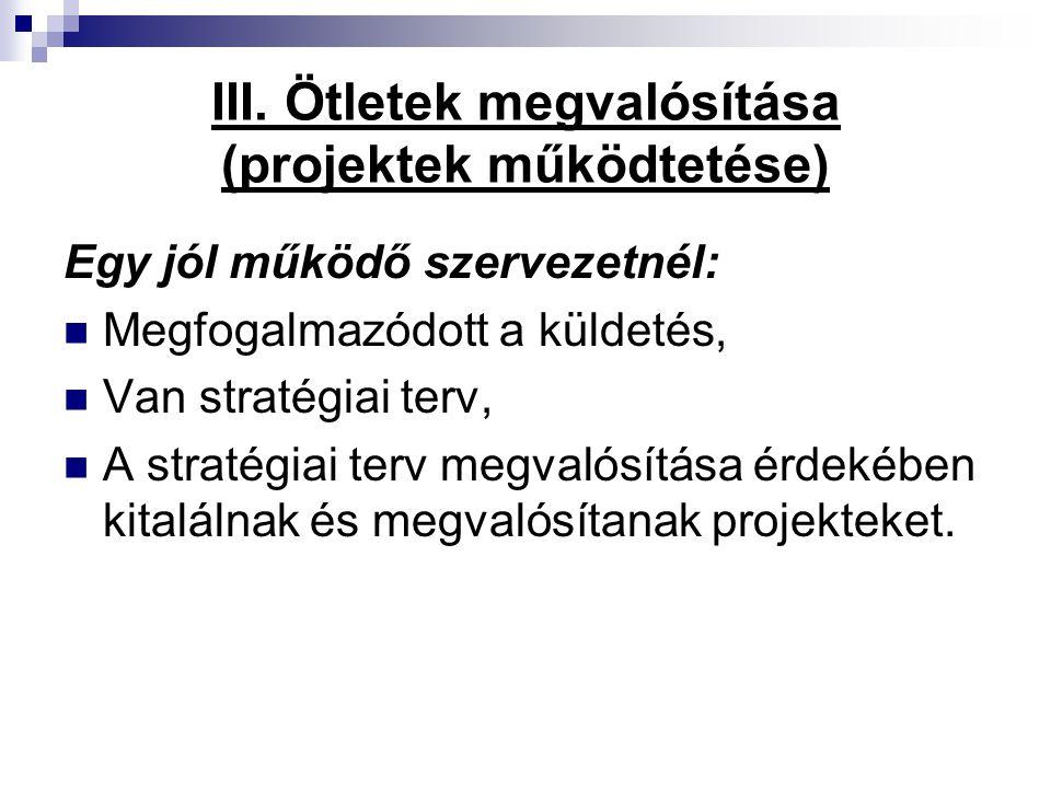 III. Ötletek megvalósítása (projektek működtetése)