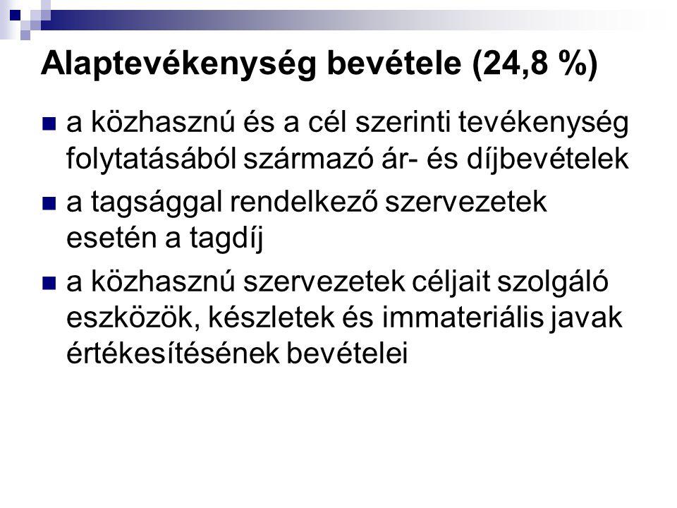 Alaptevékenység bevétele (24,8 %)