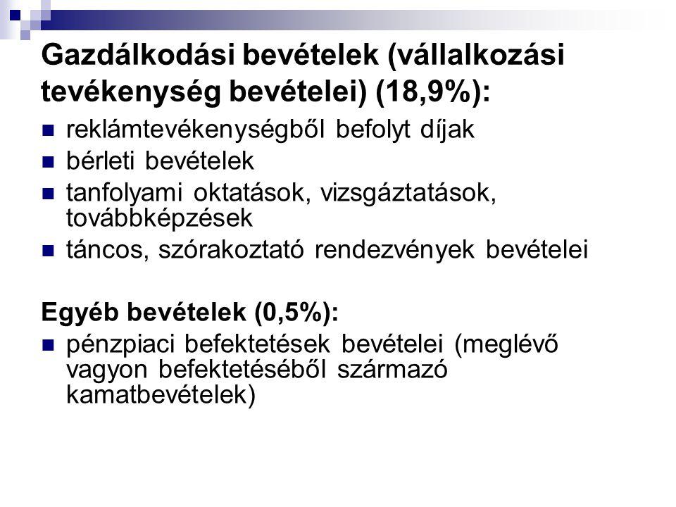 Gazdálkodási bevételek (vállalkozási tevékenység bevételei) (18,9%):